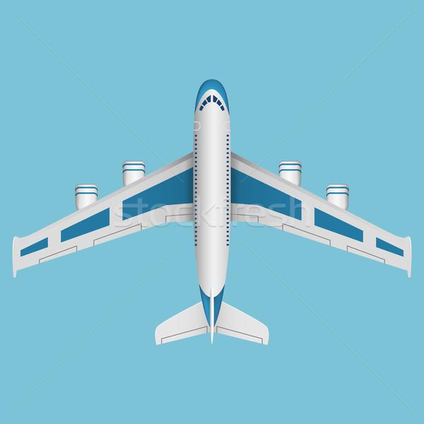 Wektora samolot górę widoku niebieski płaszczyzny Zdjęcia stock © Neokryuger
