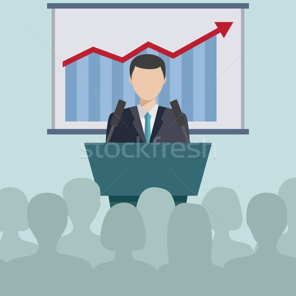 Business conferenza presentazione uomo d'affari discorso persone Foto d'archivio © Neokryuger