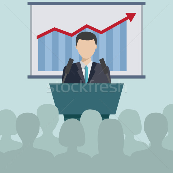 Business conferentie presentatie zakenman toespraak mensen Stockfoto © Neokryuger