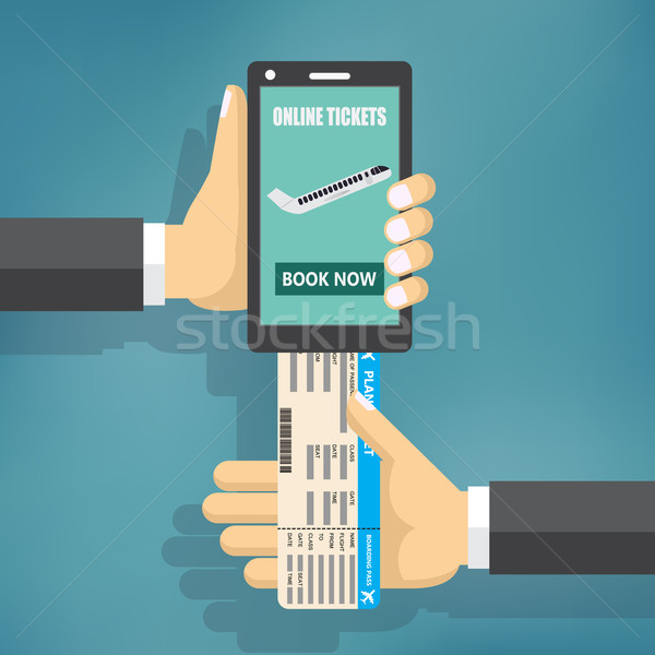 Concept of online booking for airplane tickets. Stock photo © Neokryuger