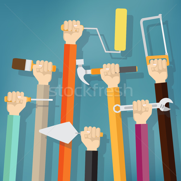 Veel handen omhoog tools Blauw onderhoud Stockfoto © Neokryuger