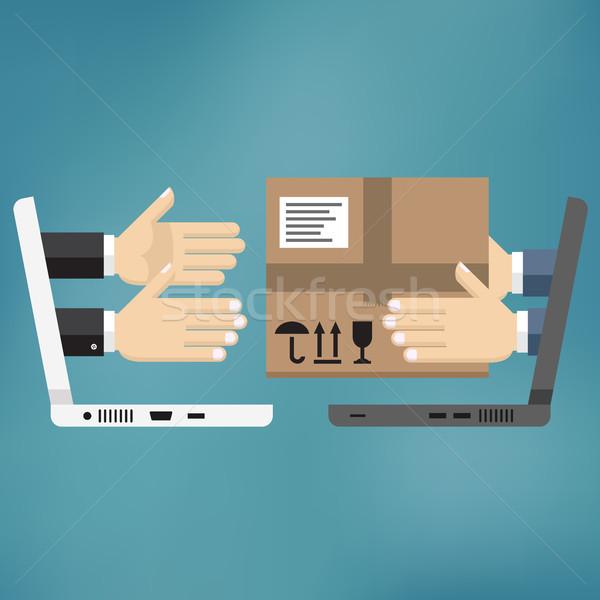 Stanie usługi zakupy online pakiet ręce kurier Zdjęcia stock © Neokryuger