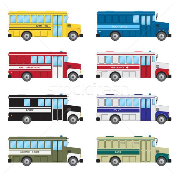 Ingesteld hulpdiensten witte auto stedelijke bus Stockfoto © Neokryuger