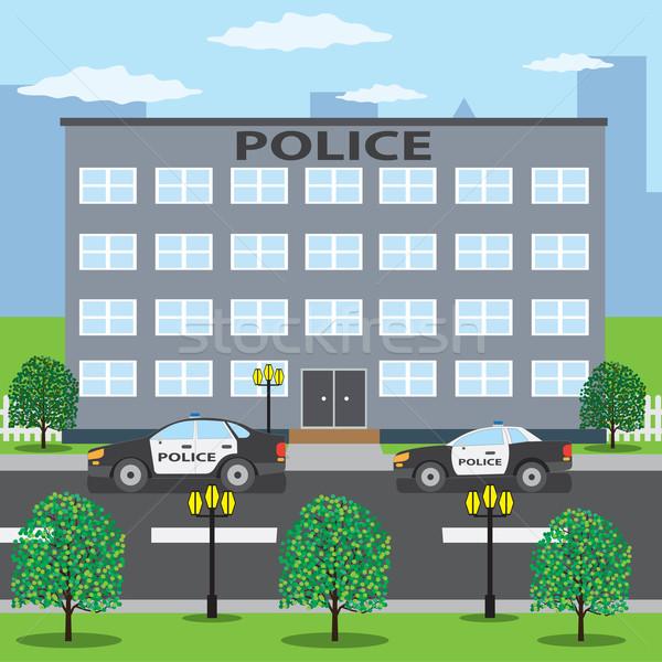 警察 建物 2 車 道路 車 ストックフォト © Neokryuger