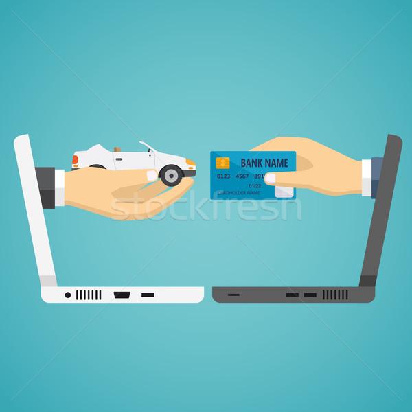 Humanismo mãos cartão de crédito carro laptop azul Foto stock © Neokryuger