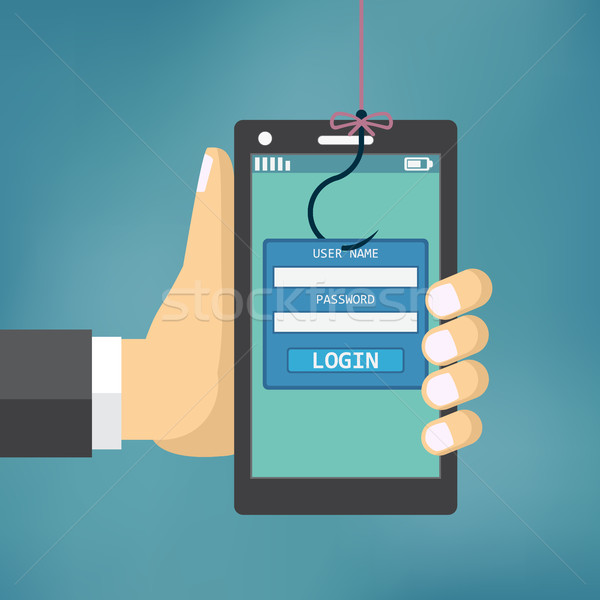 Dados phishing pescaria gancho telefone móvel internet Foto stock © Neokryuger