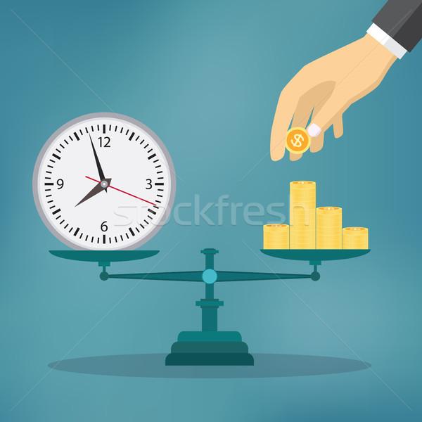 Foto stock: Tempo · é · dinheiro · ilustração · balança · tempo · um · lado
