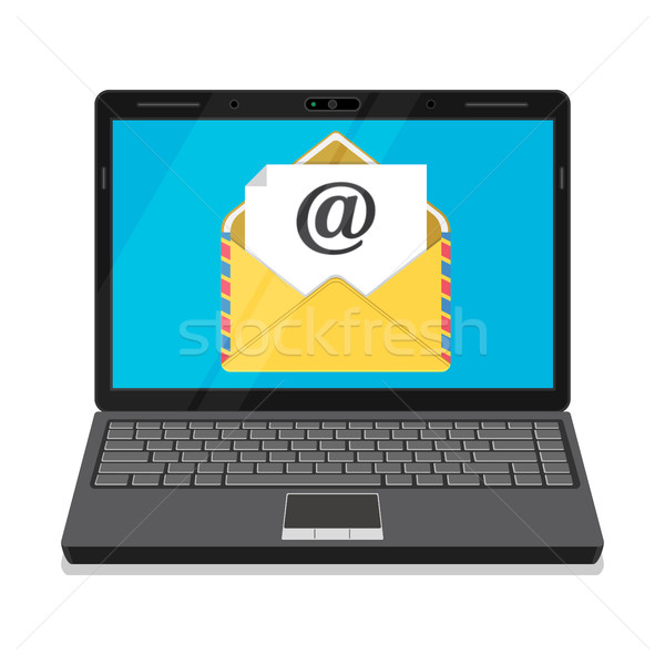 Laptop with envelope and open email on screen. Stock photo © Neokryuger
