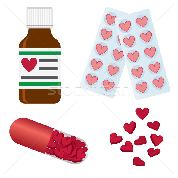 Pills with shapes of heart. Stock photo © Neokryuger