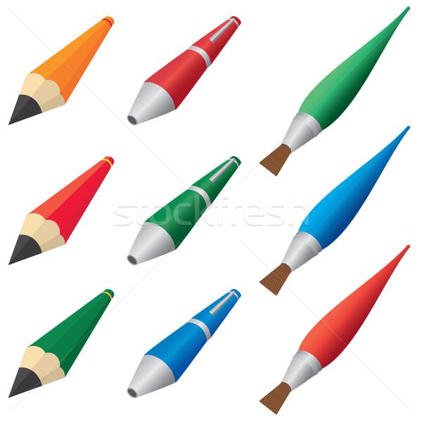 Pennen potloden ingesteld penselen witte business Stockfoto © Neokryuger