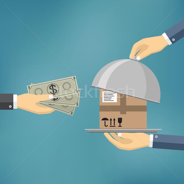 Levering dienst menselijke hand geld salaris pakketdienst Stockfoto © Neokryuger