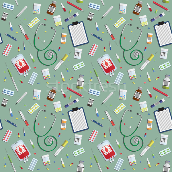 Stock photo: seamless pattern with medical icons