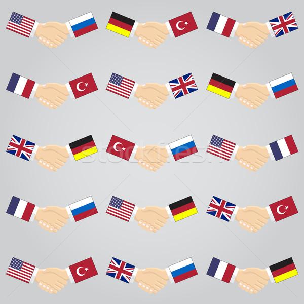 Illustratie handdruk landen USA Rusland Duitsland Stockfoto © Neokryuger