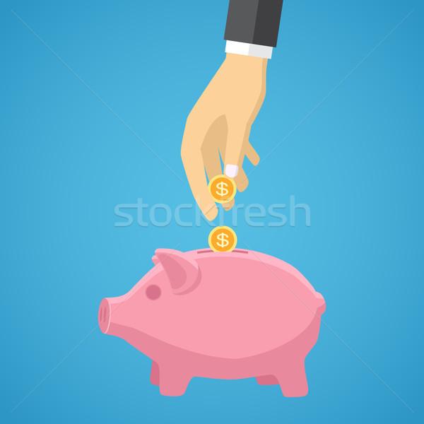 Mão dinheiro piggy bank negócio azul Foto stock © Neokryuger