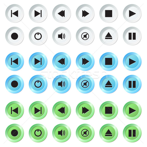 Beyaz mavi yeşil navigasyon düğmeler ayarlamak Stok fotoğraf © Neokryuger