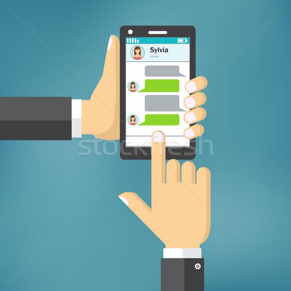 Mano telefono messaggio modello mobile Foto d'archivio © Neokryuger