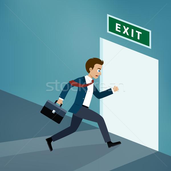 ビジネスマン 終了する ドア オフィス 男 壁 ストックフォト © Neokryuger
