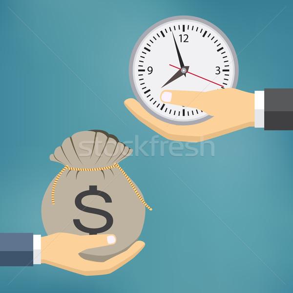 Время-деньги иллюстрация люди рук время деньги Сток-фото © Neokryuger