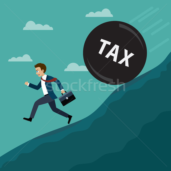 Businessman running away from tax. Stock photo © Neokryuger