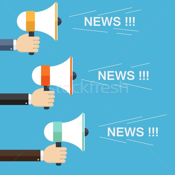 Foto stock: Empresário · mão · megafone · notícia · marketing