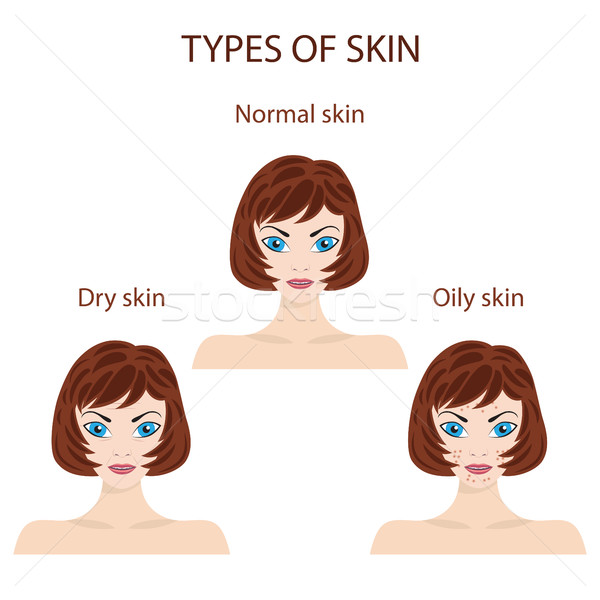 Types of skin. Oily, normal and dry. Stock photo © Neokryuger