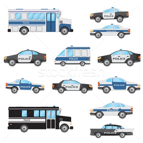 Ingesteld politie voertuigen witte justitie zwarte Stockfoto © Neokryuger