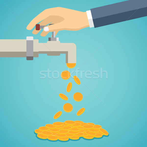 Business hand open tap with gold coins. Stock photo © Neokryuger