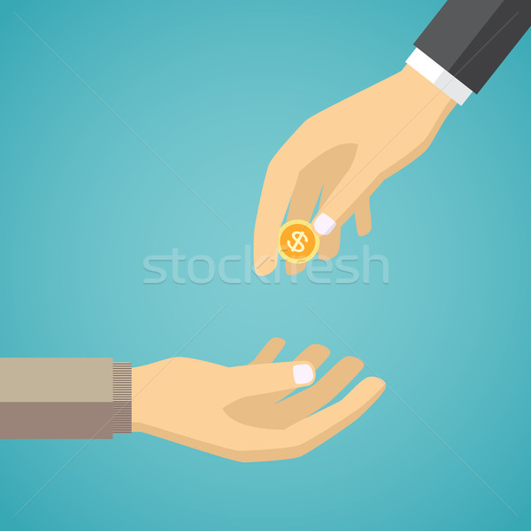 Hand giving golden coin to another hand. Stock photo © Neokryuger
