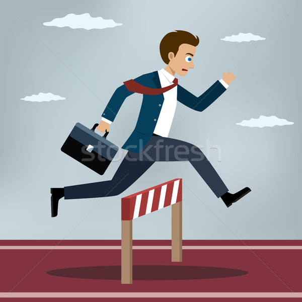 Businessman jumping over hurdle. Stock photo © Neokryuger