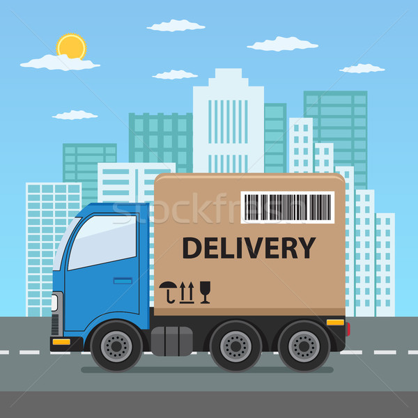 грузовик город продукт товары судоходства Сток-фото © Neokryuger