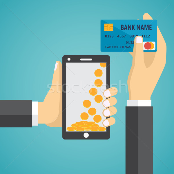 Man hands holding mobile phone and credit card Stock photo © Neokryuger