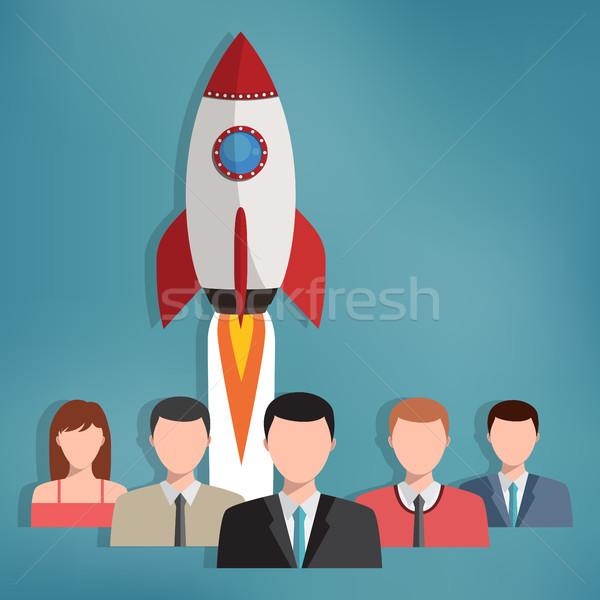 Groep zakenlieden raket achter teamwerk geslaagd Stockfoto © Neokryuger
