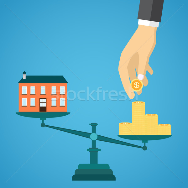 Immobiliari vendita blu scale casa soldi Foto d'archivio © Neokryuger