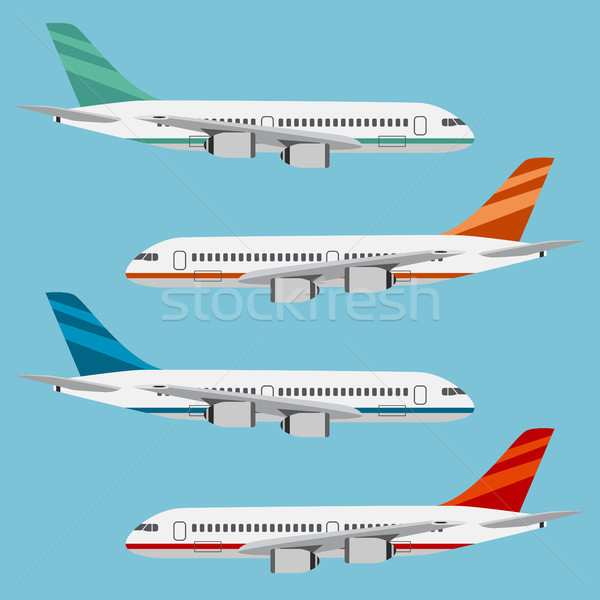 Ayarlamak renkli mavi dizayn uçak Stok fotoğraf © Neokryuger