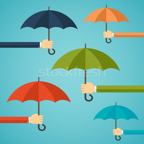 Mano uomo ombrello assicurazione pioggia Foto d'archivio © Neokryuger
