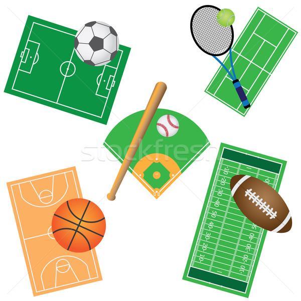 Ingesteld sport games velden witte Stockfoto © Neokryuger
