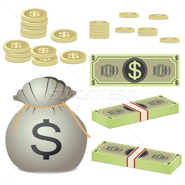 Munten bankbiljetten zak witte business geld Stockfoto © Neokryuger