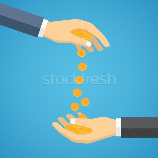 Hand munten ander gouden ander Stockfoto © Neokryuger
