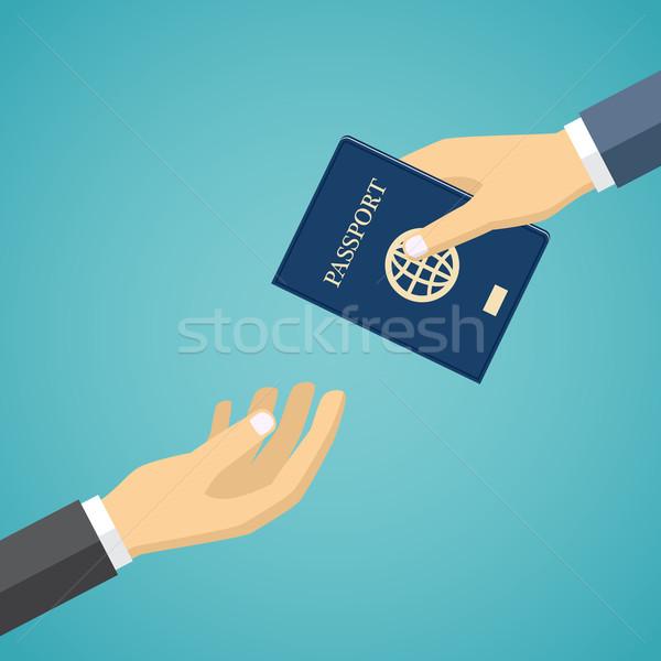 ビジネスマン パスポート 手 ビジネス 男 ストックフォト © Neokryuger