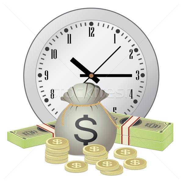 Klok geld witte business technologie tijd Stockfoto © Neokryuger