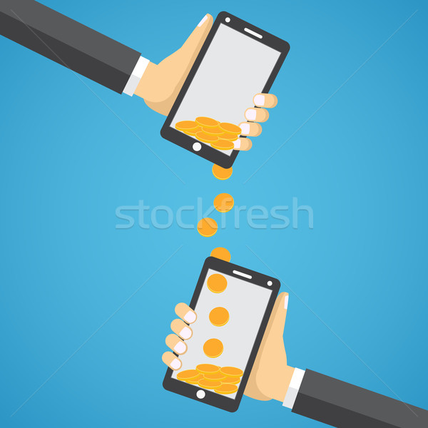 Geld Wireless Menschen Handys Stil Stock foto © Neokryuger