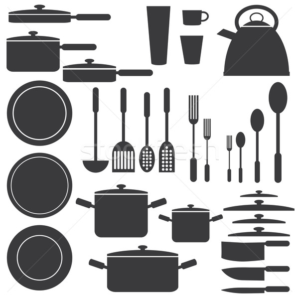 Stock photo: Kitchen utensils in white and black colours.