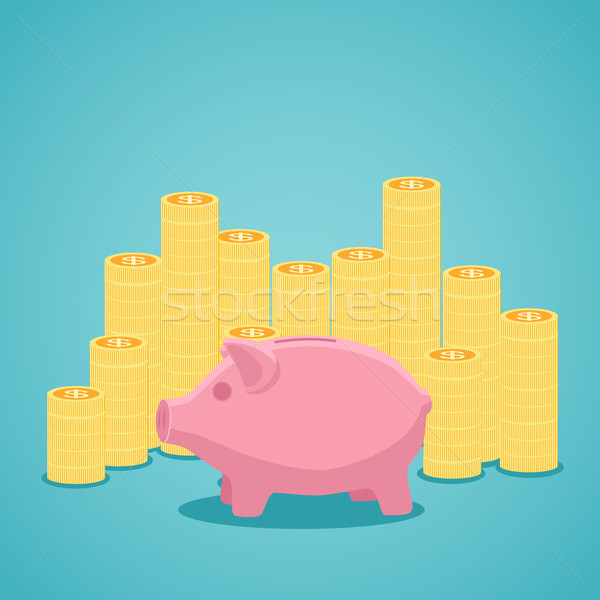 Pink piggy bank and stacks of gold coins. Stock photo © Neokryuger