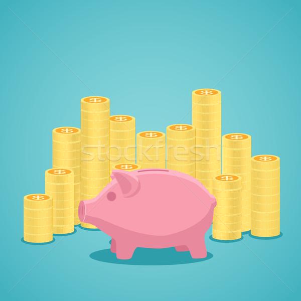 Roze spaarvarken gouden munten groene geld financieren Stockfoto © Neokryuger