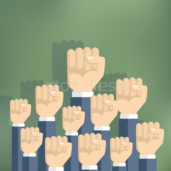 Group of fists raised in air. Stock photo © Neokryuger