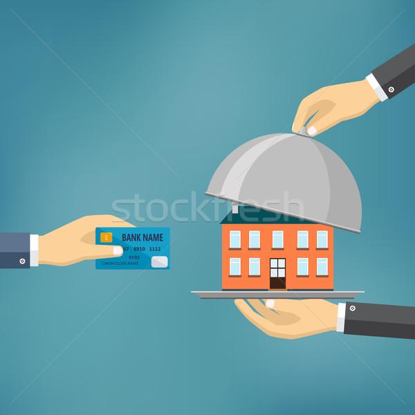 Handen creditcard huis ecommerce vector Stockfoto © Neokryuger