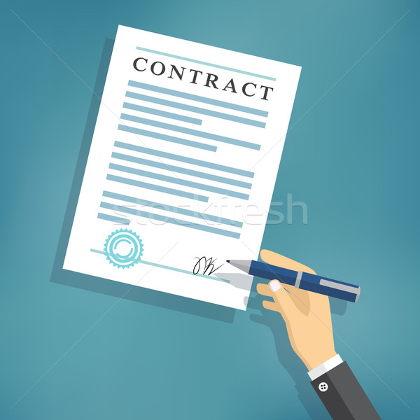 Hand signing contract on white paper. Stock photo © Neokryuger