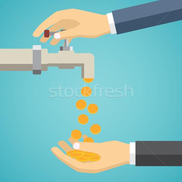 Foto stock: Dinheiro · torneira · mão · negócio · abrir · verde
