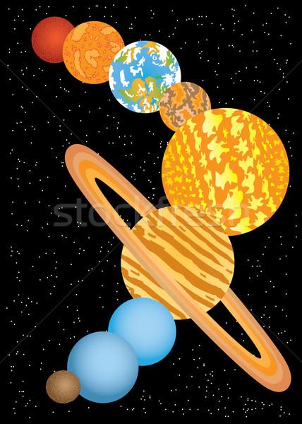 Kilenc bolygók naprendszer fekete Föld űr Stock fotó © Neokryuger