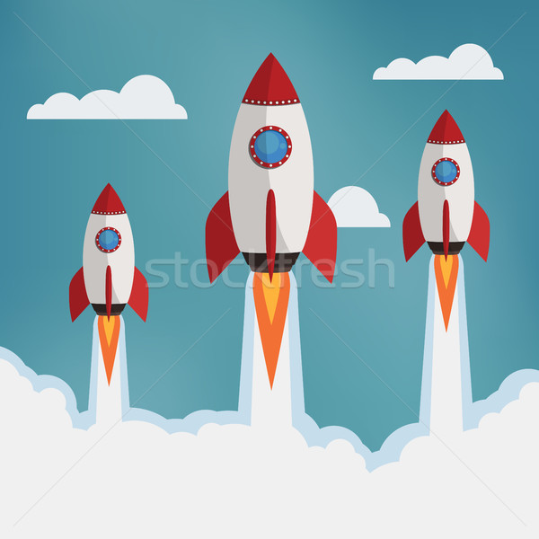 Three rockets in the clouds. Stock photo © Neokryuger